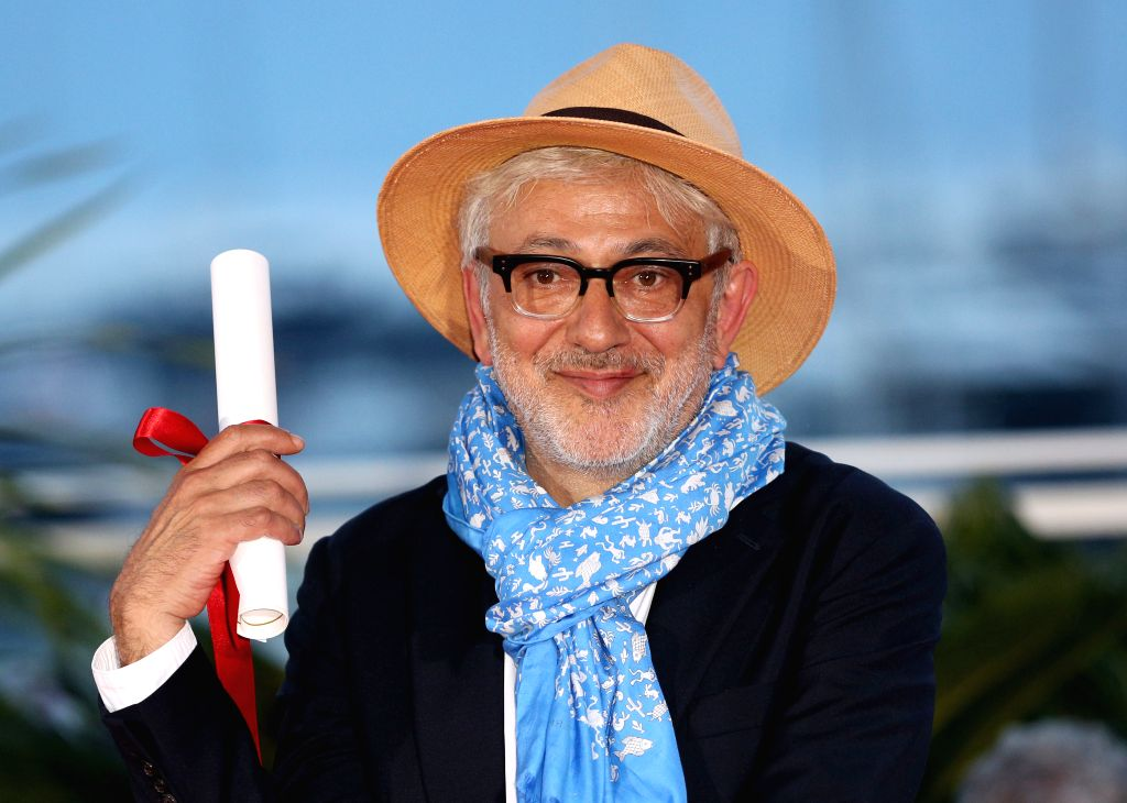 """CANNES, May 26, 2019 - Director Elia Suleiman, winner of the special mention award for the film """"It Must Be Heaven"""" poses during a photocall at the 72nd Cannes Film Festival in Cannes, ..."""