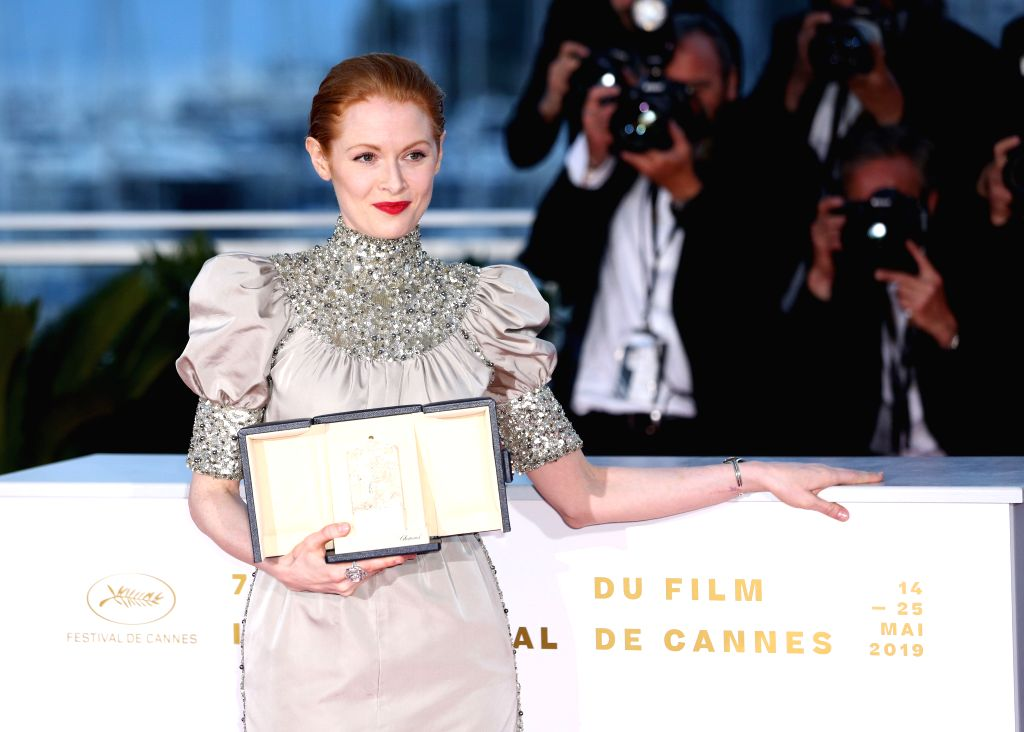 """CANNES, May 26, 2019 - Emily Beecham, winner of the Best Actress award for the film """"Little Joe"""" poses during a photocall at the 72nd Cannes Film Festival in Cannes, France, on May 25, ..."""