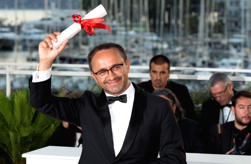 """CANNES, May 29, 2017 - Director Andrey Zvyagintsev for the film """"Loveless"""", which won the Jury Prize Award, poses during a photocall at the 70th Cannes Film Festival in Cannes, France, May ..."""