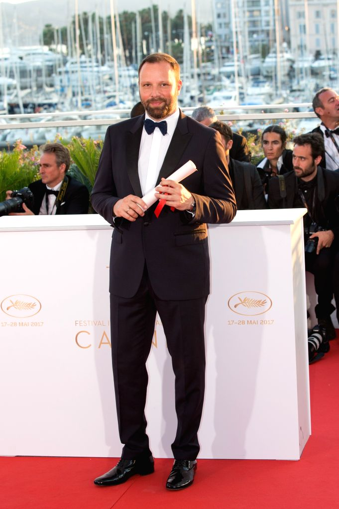"""CANNES, May 29, 2017 - Director Yorgos Lanthimos for the film """"The Killing of the Sacred Deer"""", which won The Best Screenplay Award,  poses during a photocall at the 70th Cannes Film ..."""