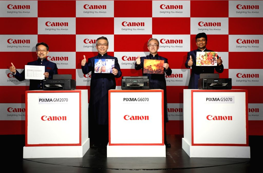 """Canon India President and CEO Kazutada Kobayashi at the launch of three high speed """"Ink Tank"""" printers in the G-series, in New Delhi on June 12, 2019. Canon India on Wednesday ..."""
