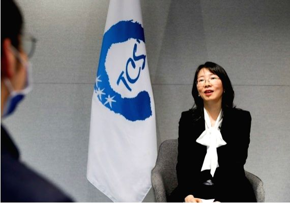 Cao Jing, deputy Secretary-General of the Trilateral Cooperation Secretariat (TCS), speaks in an interview with Xinhua in Seoul, South Korea, Nov. 11, 2020. (Xinhua/Wang Jingqiang)