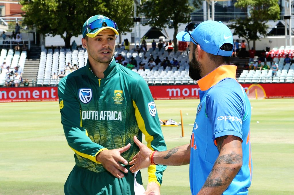 Cape Town: Indian skipper Virat Kohli and South Africa skipper Aiden Markram at the toss during the 3rd ODI match between India and South Africa at the Newlands Cricket Ground in Cape Town, South ... - Virat Kohli