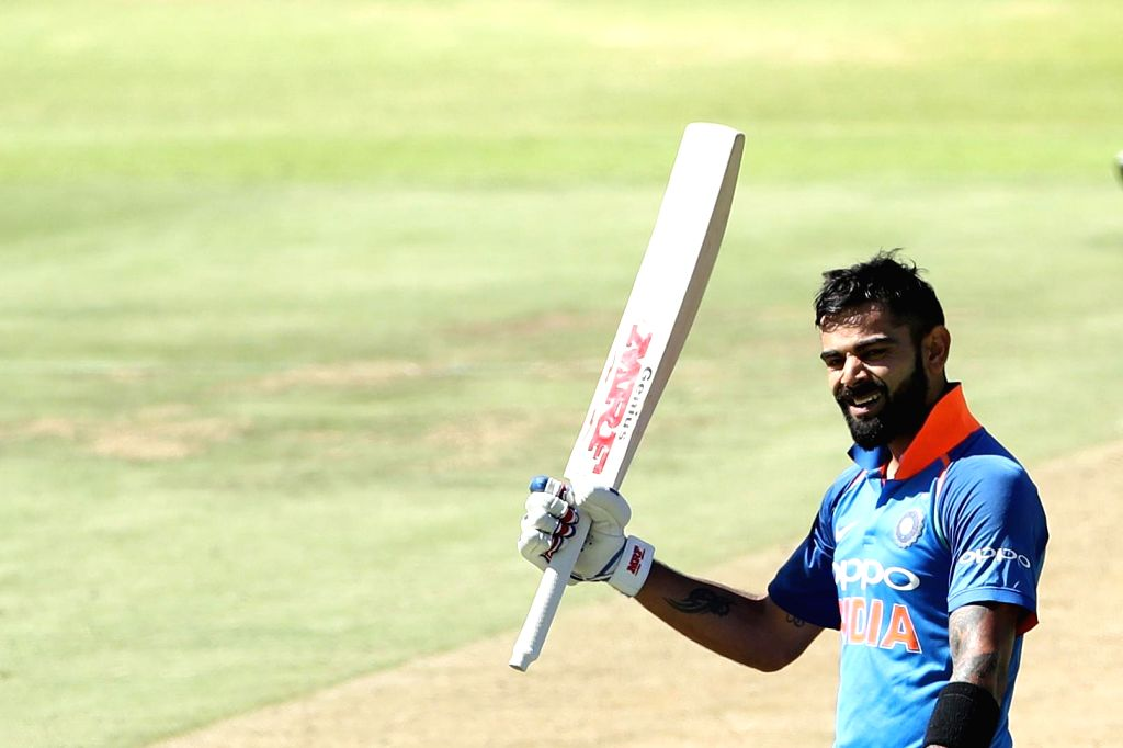 Cape Town: Indian skipper Virat Kohli celebrates his century during the 3rd ODI match between India and South Africa at the Newlands Cricket Ground in Cape Town, South Africa on Feb 7, 2018. - Virat Kohli