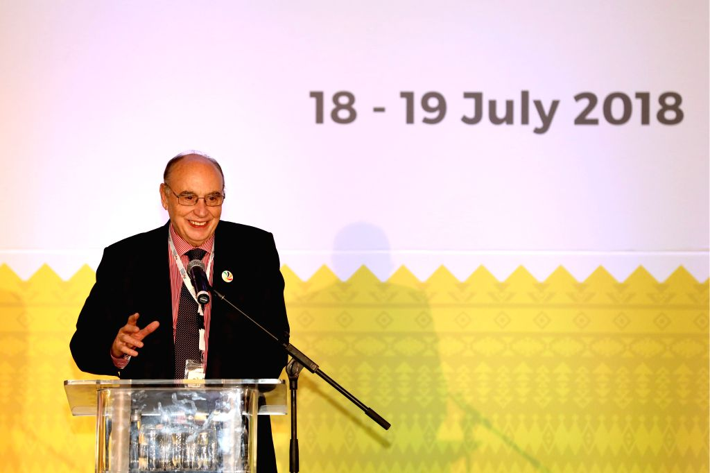 CAPE TOWN, July 19, 2018 - Jose Juan Sanchez, co-chairman of the BRICS Media Forum and president of Brazil's CMA group, delivers a speech during the BRICS Media Forum in Cape Town, South Africa, July ...