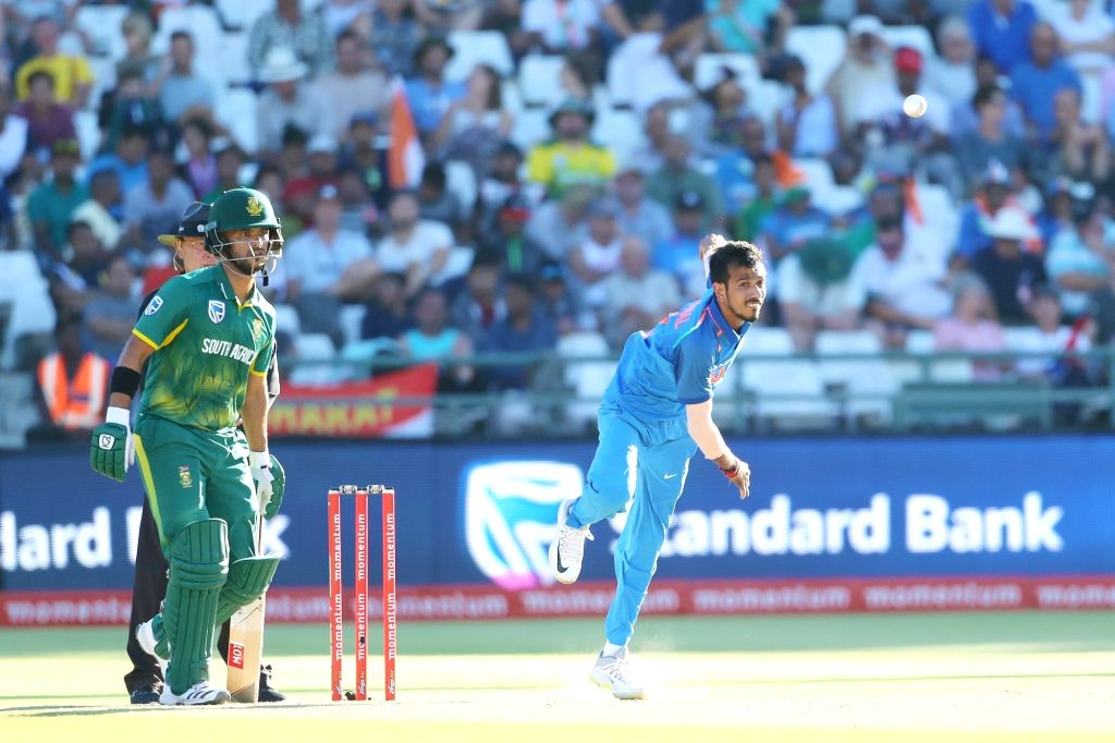 Cape Town: Yuzvendra Chahal of India in action during the 3rd ODI match between India and South Africa at the Newlands Cricket Ground in Cape Town, South Africa on Feb 7, 2018.
