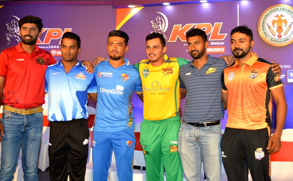 Captains of the seven teams - Bijapur Bulls, Belagavi Panthers, Bengaluru Blasters, Hubli Tigers, Shivamogga Lions, Ballari Tuskers and Mysuru Warriors - of Karnataka Premier League (KPL) ...