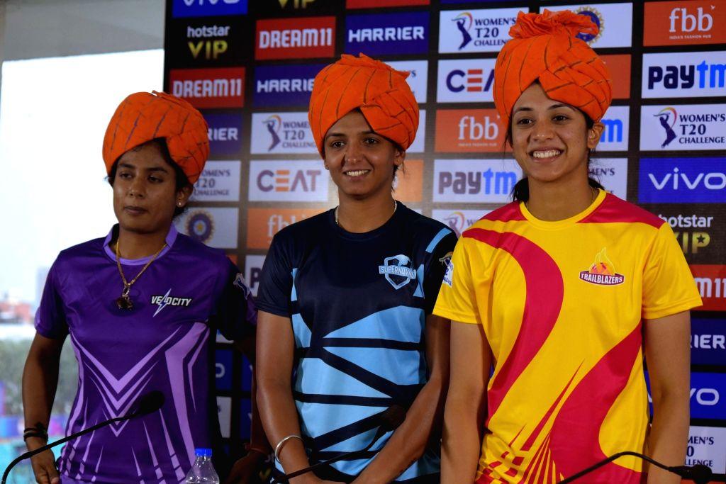 Captains of Women's T20 Challenge 2019 teams Harmanpreet Kaur (Supernovas), Smriti Mandhana (Trailblazers) and Mithali Raj (Velocity) during a press conference ahead of the tournament in ... - Harmanpreet Kaur