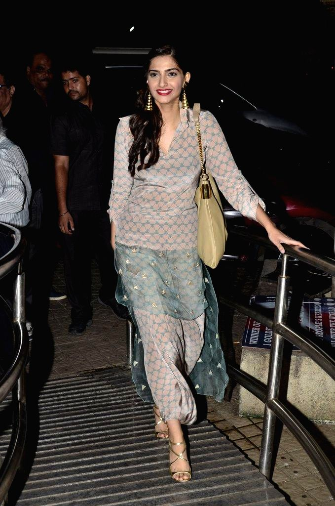 Caption : Actor Sonam Kapoor during the special screening of film Finding Fanny in Mumbai on Sept 7, 2014. - Sonam Kapoor