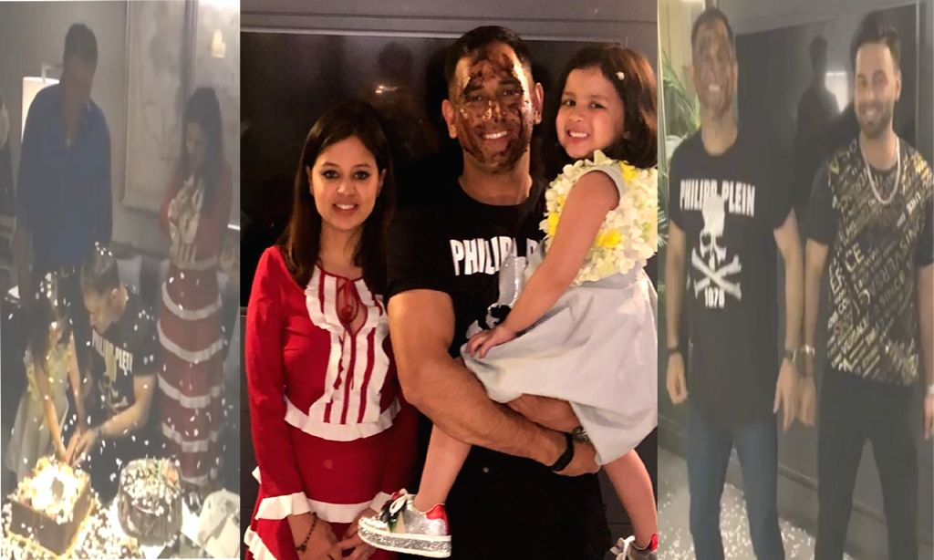Caption: Iconic former India captain M.S. Dhoni celebrated his 38th birthday with daughter Ziva, wife Sakshi and members of the Indian cricket team after their seven-wicket win over Sri Lanka in the last World Cup group game at Headingley. (Photo: In - M.