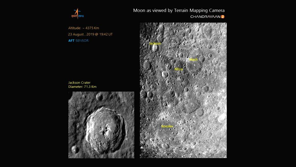 Caption: Lunar surface imaged by Terrain Mapping Camera-2 (TMC-2) of #Chandrayaan2 on August 23 at an altitude of about 4375 km showing craters such as Jackson, Mach, Korolev and Mitra (In the name of Prof. Sisir Kumar Mitra). (Photo: Twitter/@isro) - Sisir Kumar Mitra