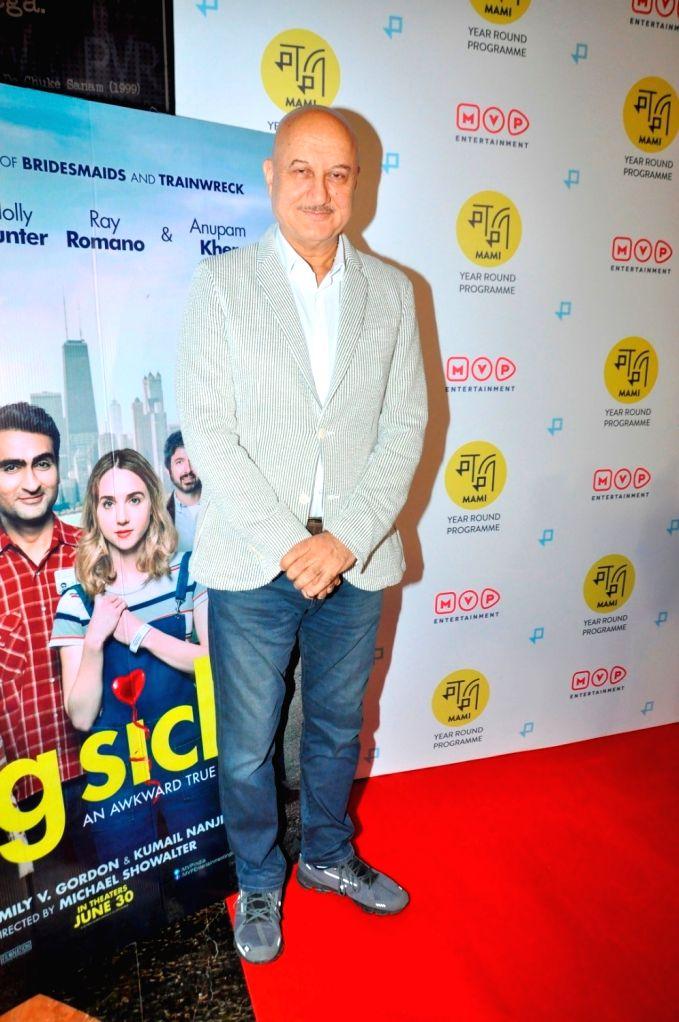 """Caption : Mumbai: Actor Anupam Kher during the screeing of Film """"The Big Sick"""" in Mumbai,on June 28, 2017. - Anupam Kher"""
