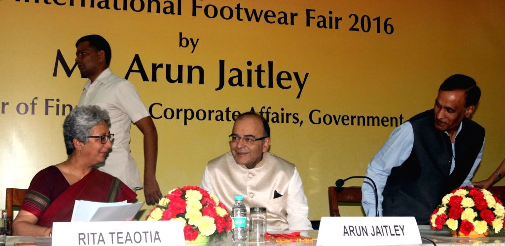 Caption : New Delhi: Union Finance Minister Arun Jaitley during the inaugurate of India International Footwear Fair 2016 in New Delhi on Aug 5, 2016. - Arun Jaitley