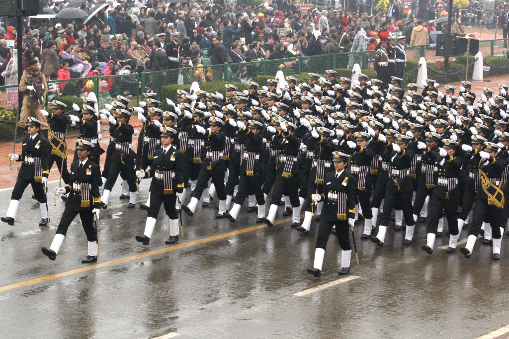 New Delhi: Women officers of the Indian Navy march on Rajpath during Republic Day celebrations for the first time in New Delhi, on Jan 26, 2015.