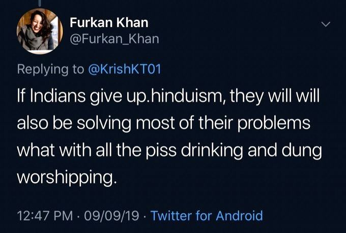 Caption: NPR journalist Furkan Khan had posted a blatantly Hindu-phobic tweet. Now, NPR, her employer says she has resigned. In fact, she was asked to. - Furkan Khan