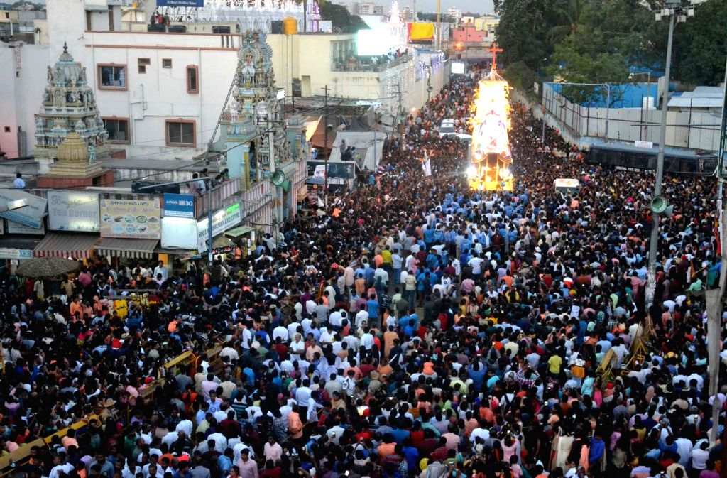 Car procession on the final day of the St Mary Feast at St Mary Basilica Church at Shivajinagar, in Bengaluru on Sept 8, 2018.