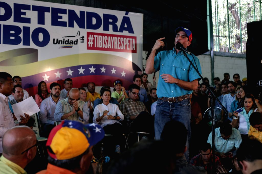CARACAS, April 20, 2016 - Venezuelan opposition leader Henrique Capriles takes part in a demonstration in support of the activity of a recall referendum to shorten the mandate of Venezuela's ...