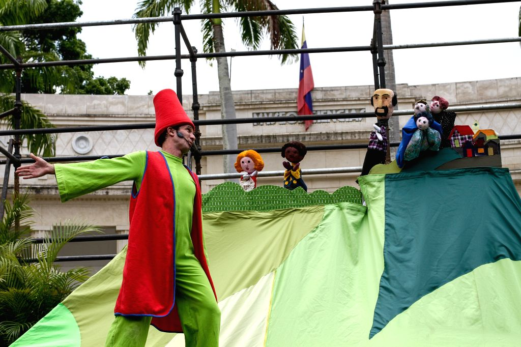 CARACAS, April 23, 2017 - An actor performs during the opening ceremony of the Caracas Theater Festival 2017, at Los Museos Square in Caracas, Venezuela, on April 22, 2017. According to the local ...