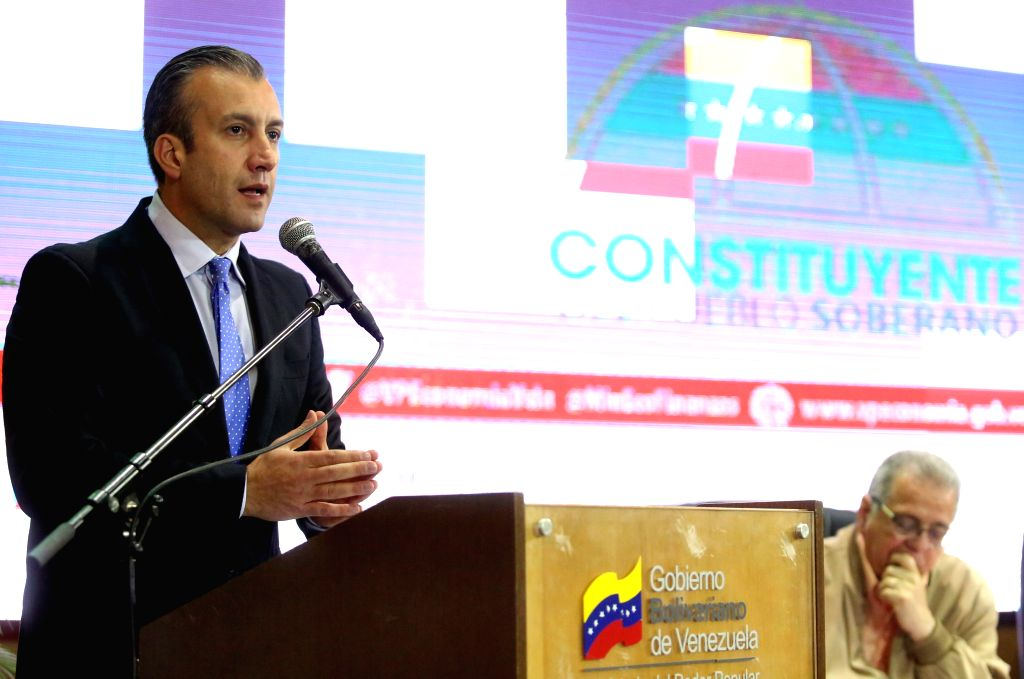 CARACAS, Aug. 10, 2017 - Venezuelan Vice President Tareck El Aissami delivers a speech during a meeting in Caracas, Venezuela, on Aug. 9, 2017. Venezuela's vice-president, Tareck El Aissami, said on ...