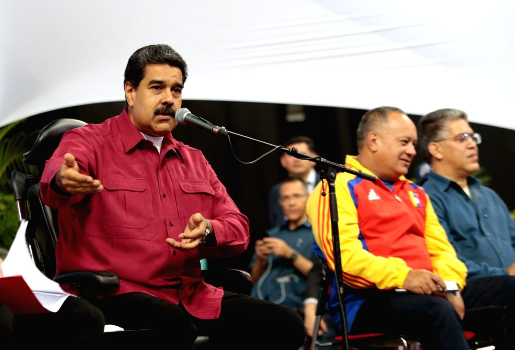 CARACAS, Aug. 3, 2017 - Image provided by Venezuela's Presidency shows Venezuelan President Nicolas Maduro (L) speaking during a meeting with the 545 elected members of the National Constituent ...