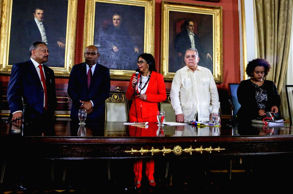 CARACAS, Aug. 5, 2017 - Delcy Rodriguez (C), president of Venezuela's National Constituent Assembly (ANC), speaks during the installation of the ANC at the Federal Legislative Palace in Caracas, ...