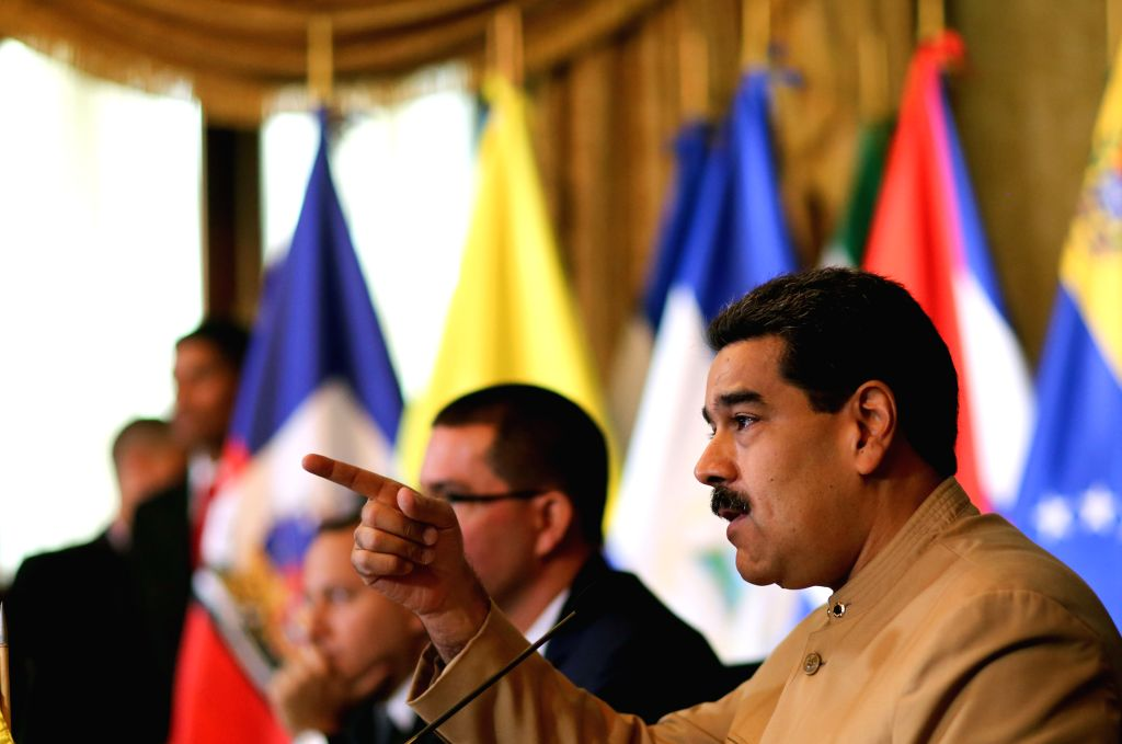 CARACAS, Aug. 9, 2017 - Image provided by Venezuela's Presidency shows Venezuelan President Nicolas Maduro (R) speaking during the Bolivarian Alliance of the Peoples of Our America (ALBA) meeting at ...