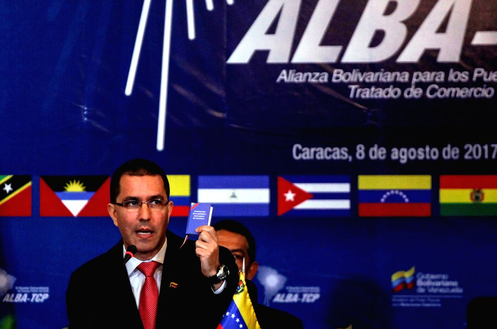 CARACAS, Aug. 9, 2017 - Venezuelan Foreign Minister Jorge Arreaza speaks during the Bolivarian Alliance of the Peoples of Our America (ALBA) meeting at the Venezuelan Foreign Ministry in Caracas, ... - Jorge Arreaza