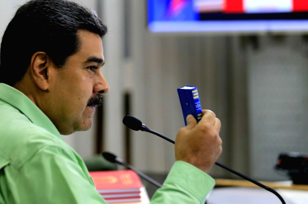 CARACAS, Feb. 22, 2019 - Image provided by Venezuela's Presidency shows Venezuelan President, Nicolas Maduro, taking part in a meeting with the high command of the National Bolivarian Armed Forces, ...