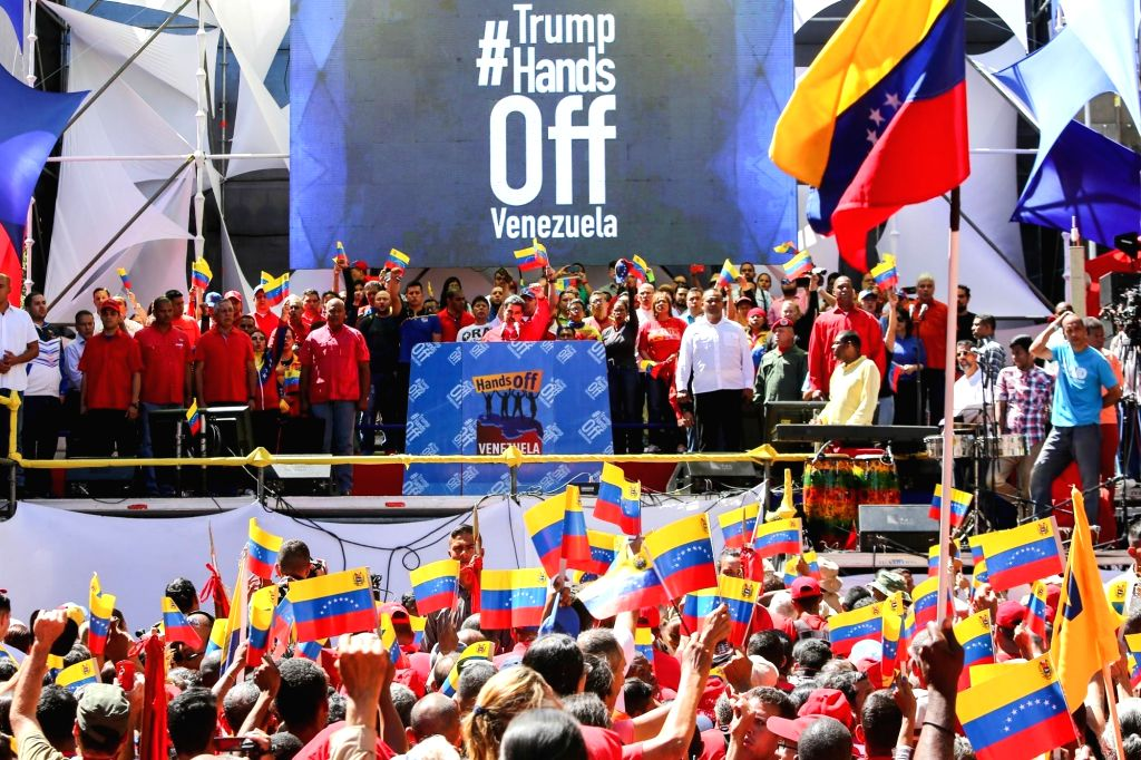 CARACAS, Feb. 24, 2019 (Xinhua) -- Image provided by Venezuela's Presidency shows President Nicolas Maduro attends a pro-government rally in Caracas, capital of Venezuela, on Feb. 23, 2019. Venezuelan President Nicolas Maduro announced on Saturday se