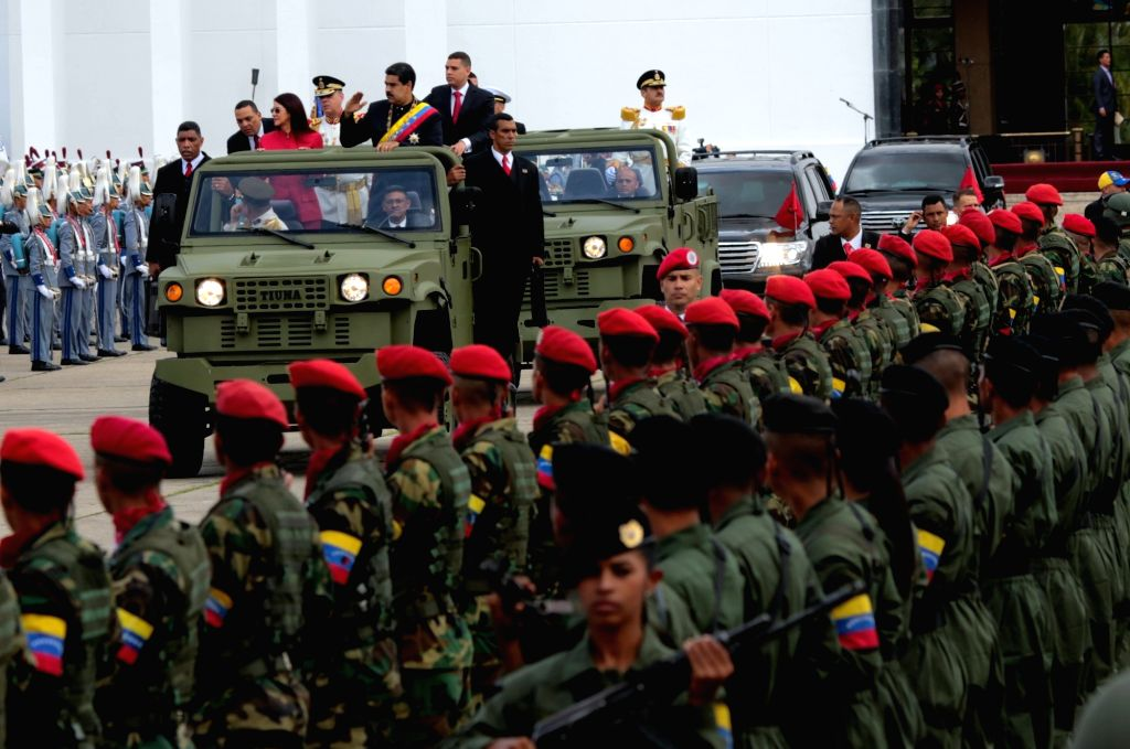 CARACAS, July 6, 2017 - Venezuelan President Nicolas Maduro waves during a parade to celebrate the 206th anniversary of Venezuela's independence in Caracas July 5, 2017.