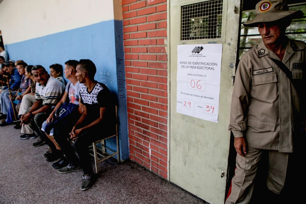 CARACAS, May 20, 2018 - People wait to cast their votes at a voting station during the presidential elections in Caracas, Venezuela, on May 20, 2018