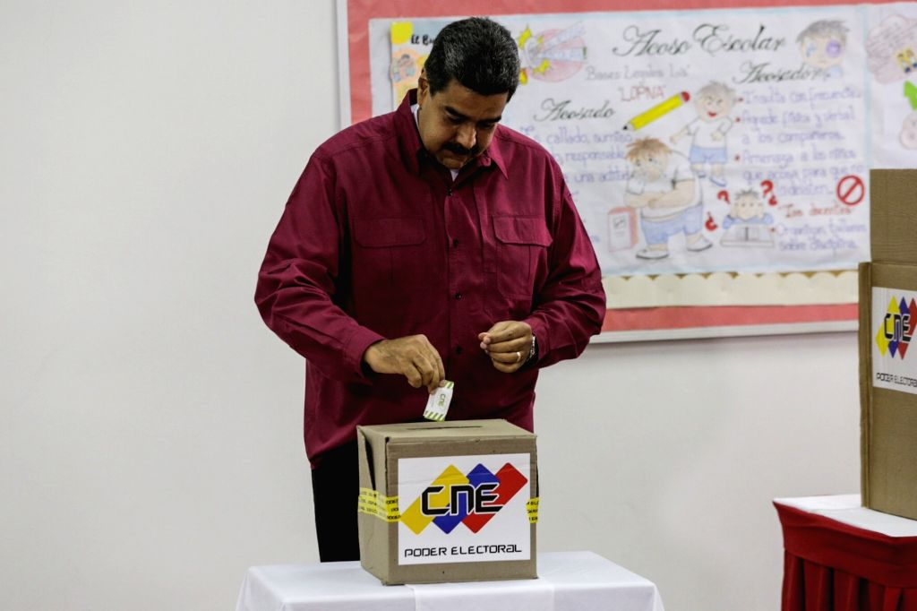 CARACAS, May 20, 2018 - Venezuelan President Nicolas Maduro casts his vote during the presidential elections in Caracas, Venezuela, on May 20, 2018