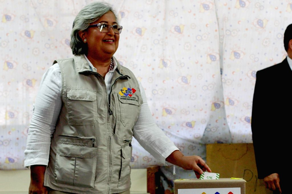 CARACAS, May 21, 2018 - Tibisay Lucena, president of the National Electoral Council, casts vote at a polling station in Caracas, Venezuela, May 20, 2018. Venezuela held presidential election on ...