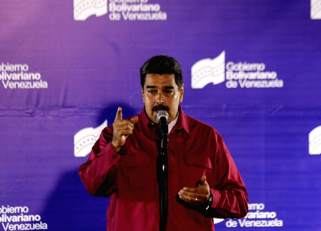 CARACAS, May 21, 2018 - Venezuelan President Nicolas Maduro delivers a speech during a press conference after casting his vote in a polling center in Caracas, Venezuela, on May 20, 2018. Nicolas ...