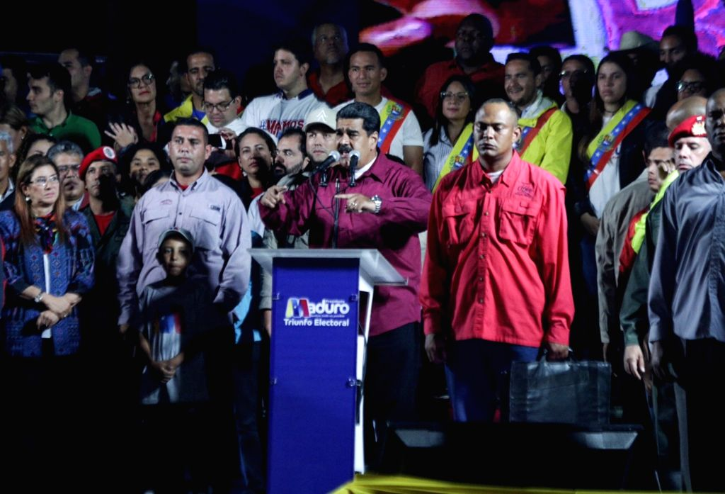 CARACAS, May 21, 2018 - Venezuelan President Nicolas Maduro (C-Front) delivers a speech during an event to celebrate his reelection at the Miraflores Palace, in Caracas, Venezuela, on May 20, 2018. ...