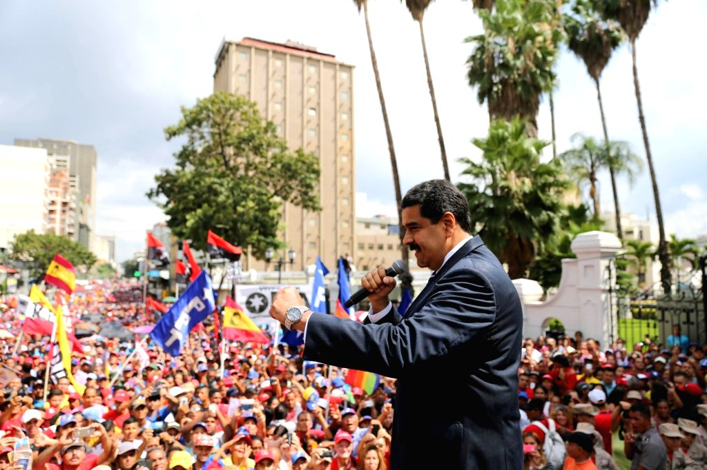 CARACAS, Oct. 27, 2016 - Venezuela's President Nicolas Maduro delivers a speech to government supporters in Caracas Oct. 26, 2016. Nicolas Maduro activated on Wednesday the nation's Defense Council ...