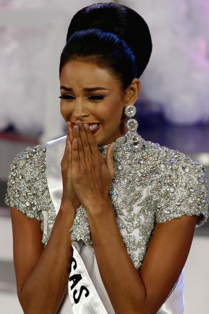 "CARACAS, Oct. 6, 2016 - Keysi Sayago, representative of Monagas state, reacts after winning the beauty pageant ""Miss Venezuela 2016"" in Caracas, Venezuela, on Oct. 5, 2016. Sayago will ..."
