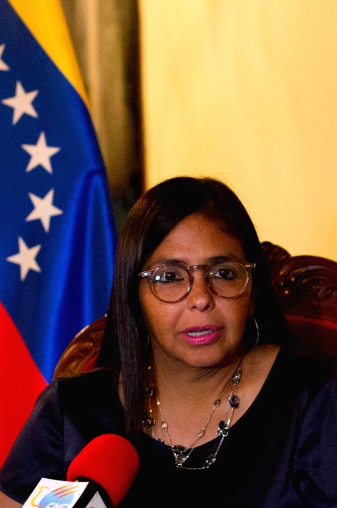 CARACAS, Sept. 13, 2017 - President of Venezuela's National Constituent Assembly (ANC) Delcy Rodriguez speaks during an exclusive interview with Xinhua in Caracas, Venezuela, Sept. 8, 2017. Delcy ...