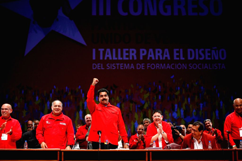 Venezuelan President Nicolas Maduro (3rd L, front) attends the Workshop for the Design of the System of Formation of the Venezuelan United Socialist Party (PSUV, ...
