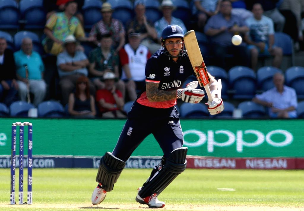 Cardiff: Alex Hales of England in action during the first Semi-final match of ICC Champions Trophy between England and Pakistan at Sophia Gardens in Cardiff, Wales, Britain on June 14, 2017. (Photo: Surjeet Yadav/IANS) - Surjeet Yadav