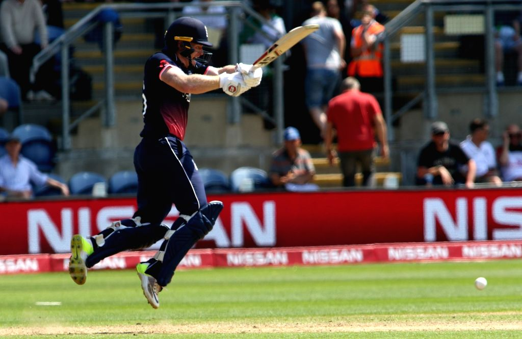 Cardiff : Eoin Morgan of England in action during the first Semi-final match of ICC Champions Trophy between England and Pakistan at Sophia Gardens in Cardiff, Wales, Britain on June 14, 2017. (Photo: Surjeet Yadav/IANS) - Surjeet Yadav