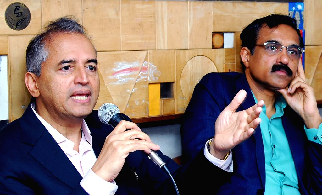 Cardiologist Dr. Devi Shetty with Karnataka State President Association of Healthcare Providers of India President B S Ajaikumar addresses a press conference in Bengaluru on Jan 23, 2018. - Shetty