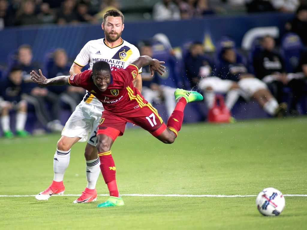 CARSON, July 5, 2017 - Demar Phillips (Front) of the Real Salt Lake competes during the 2017 Major League Soccer (MLS) match between Los Angeles Galaxy and Real Salt Lake in Carson, the United ...
