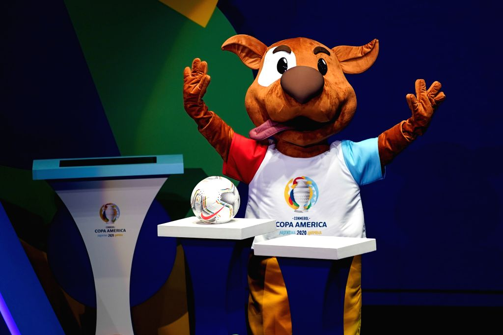 """CARTAGENA, Dec. 4, 2019 - """"Pibe"""", mascot of 2020 Copa America, greets the audience during the draw for the 2020 Copa America football tournament in Cartagena, Colombia, Dec. 3, 2019."""