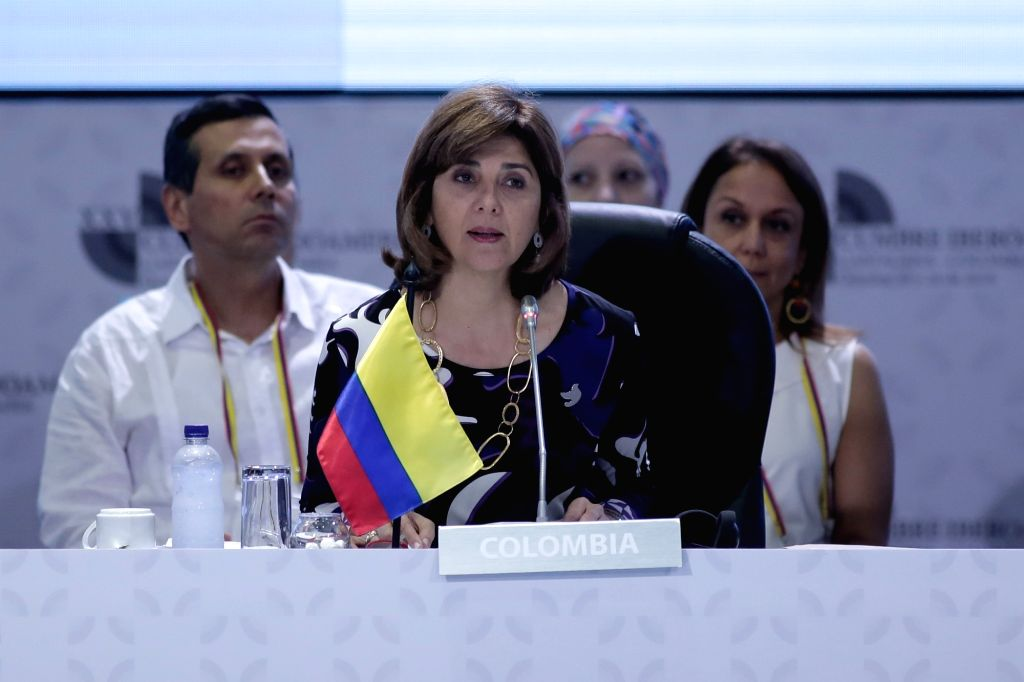 CARTAGENA, Oct. 29, 2016 - Colombian Foreign Minister Maria Angela Holguin addresses the foreign ministers' meeting preparing for the 25th Ibero-American Summit in Cartagena, Colombia, Oct. 28, 2016. - Maria Angela Holguin