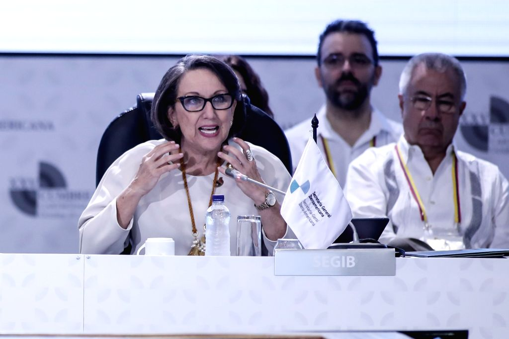 CARTAGENA, Oct. 29, 2016 - Ibero-American Secretary General Rebeca Grynspan addresses the foreign ministers' meeting preparing for the 25th Ibero-American Summit in Cartagena, Colombia, Oct. 28, 2016.