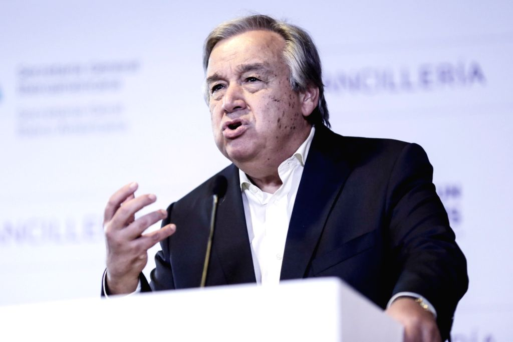 CARTAGENA, Oct. 30, 2016 - United Nations Secretary-General designate Antonio Guterres speaks at a press conference during the 25th Ibero-American Summit of Heads of State and Government in ...
