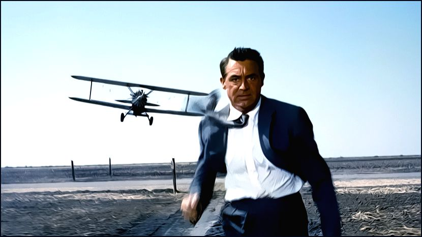 "Cary Grant in an iconic scene from Alfred Hitchcock\'s ""North By Northwest\"""