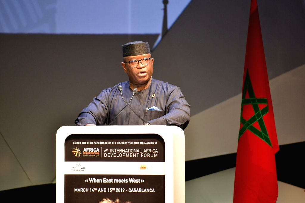 CASABLANCA, March 15, 2019 - Sierra Leone's President Julius Maada Bio, whose country is the guest of honor, speaks during the opening session of the sixth International Africa Development Forum ...