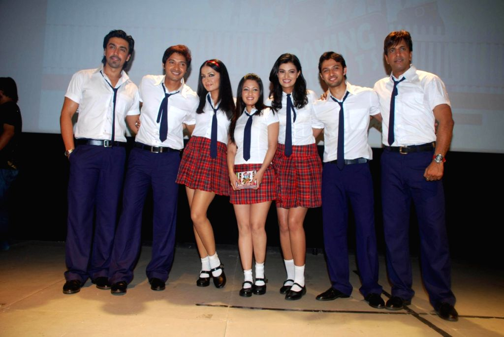Cast and crew of 'Paying Guest' at the film's music launch at Whistling Woods International auditorium at Filmcity, Goregaon, Mumbai.